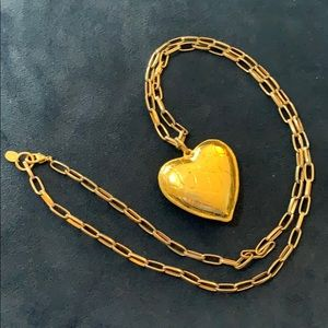 Kara Ross puffy heart gold crocodile necklace